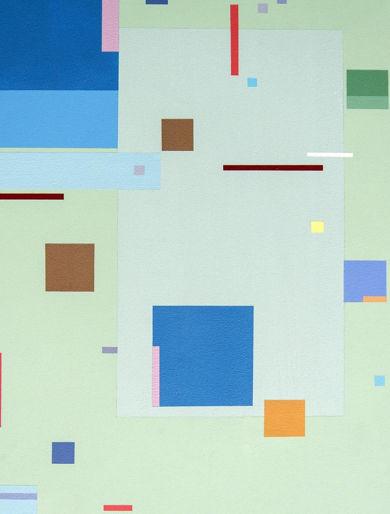 """Modernist Burton Kramer's colourful acrylic paintings are unique geometric compositions that express musical themes. This piece is a striking combination of vivid colours—blues, yellow, red, and orange shapes against a soft green background.   """"My"""