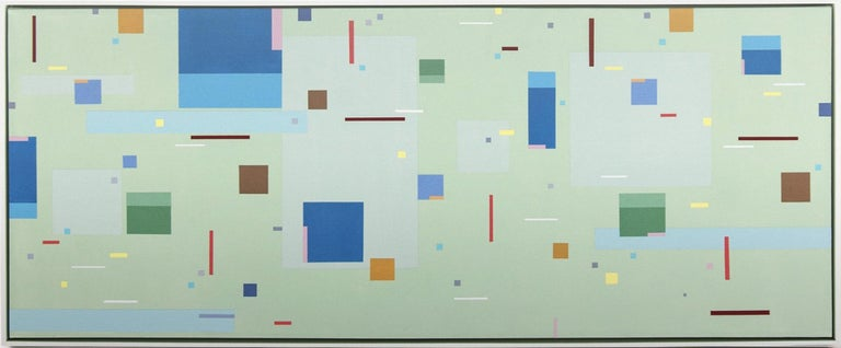 Burton Kramer Abstract Painting - Divertimento - colourful, geometric abstraction, modernist, acrylic on canvas