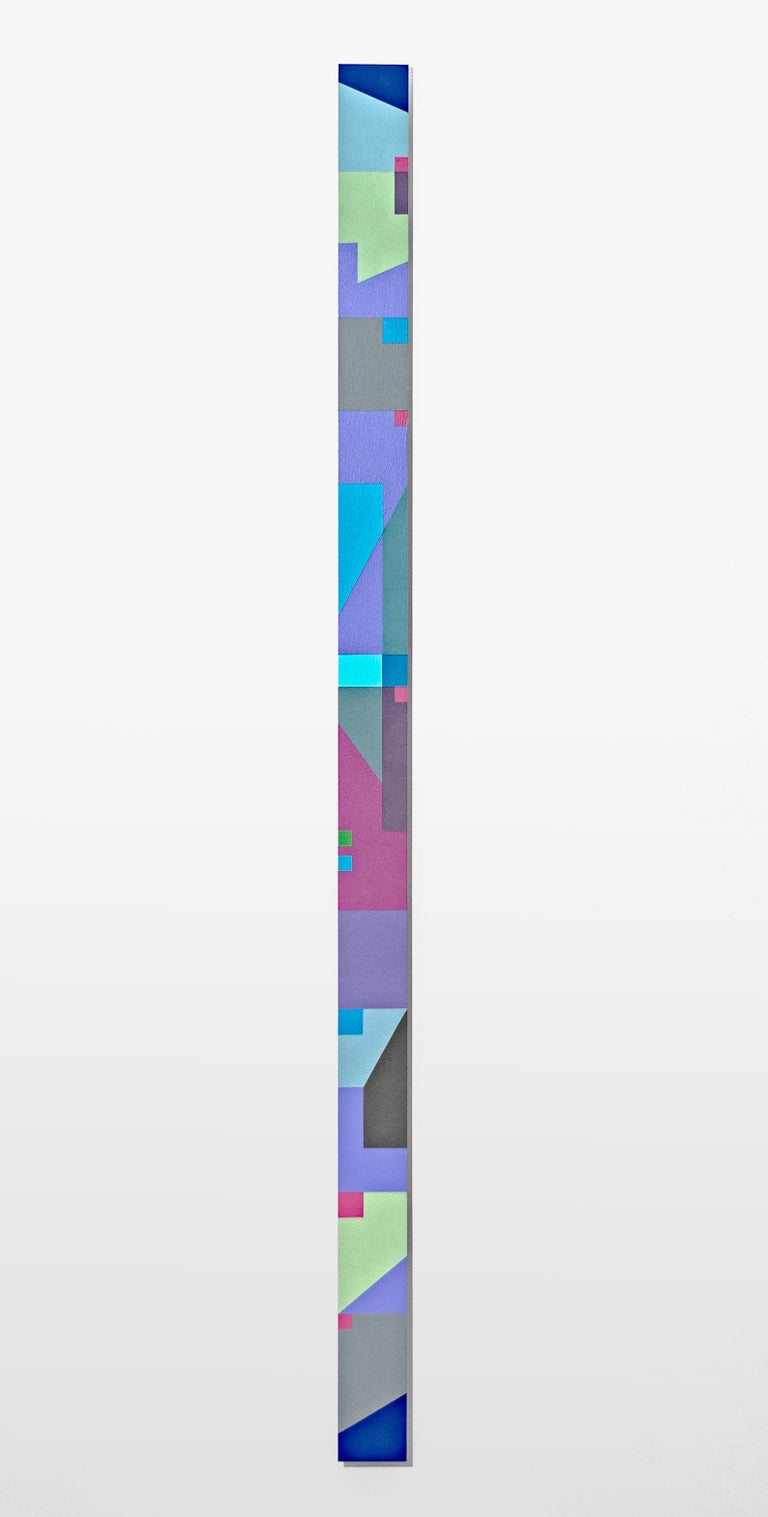 """Burton Kramer Abstract Sculpture - Grey, Turquoise, Lime """"Skinny"""" abstract painting (TTH 9)"""