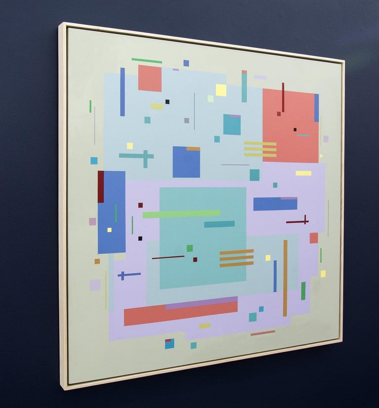 Moog Music 5D2A - bright, geometric abstraction, modernist, acrylic on panel - Abstract Geometric Painting by Burton Kramer