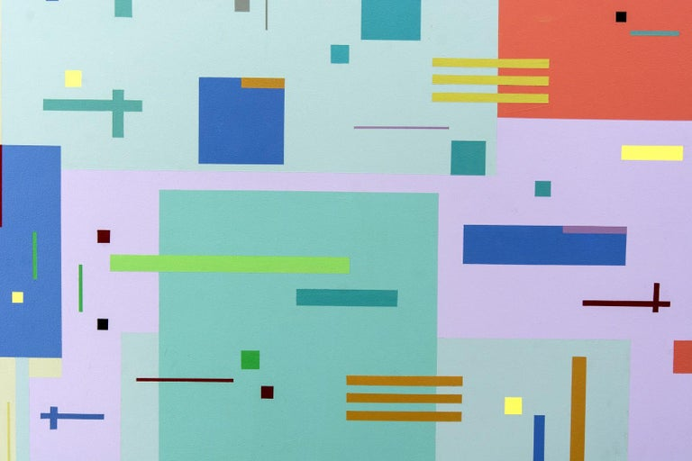 Rectangles and squares, large and small, in orange, mauve, blue and more, dance across a light green ground in this vibrant acrylic painting by Burton Kramer. The title of the painting refers to the Moog electronic synthesizer that became an