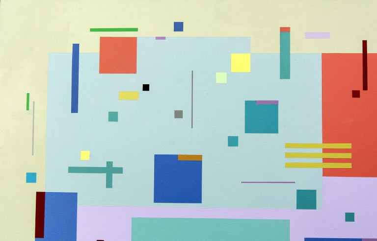 Moog Music 5D2A - bright, geometric abstraction, modernist, acrylic on panel For Sale 1