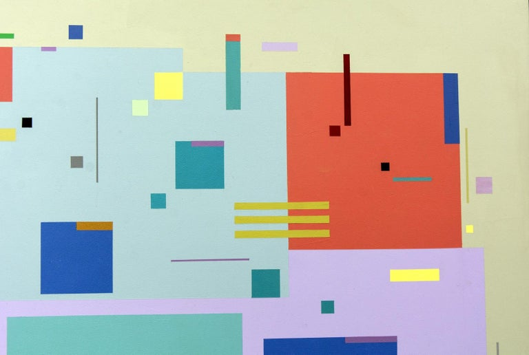 Moog Music 5D2A - bright, geometric abstraction, modernist, acrylic on panel For Sale 2
