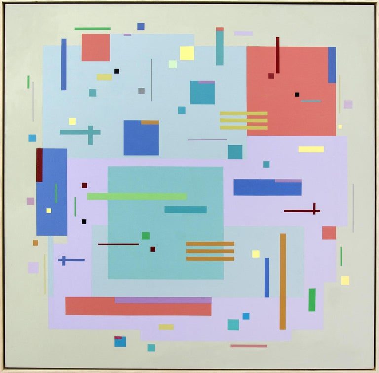 Moog Music 5D2A - bright, geometric abstraction, modernist, acrylic on panel - Painting by Burton Kramer