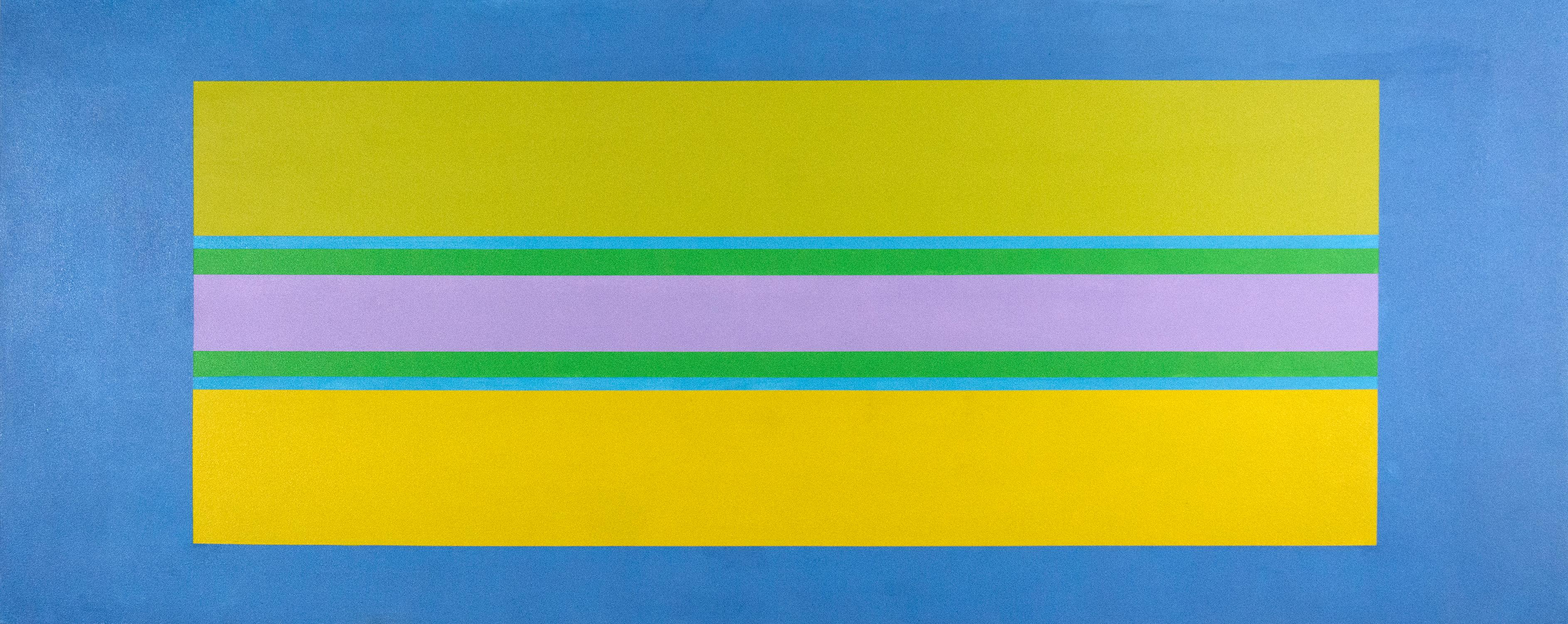 Oasis 7 - vivid, colourful geometric abstraction, modernist, acrylic on canvas