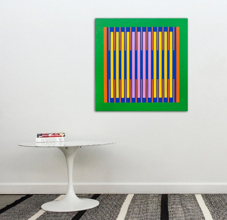 Precise vertical bands of orange, indigo and canary yellow on a green ground beat in unison in this lyrical painting by Burton Kramer. Kramer has observed that his lyrical abstractions