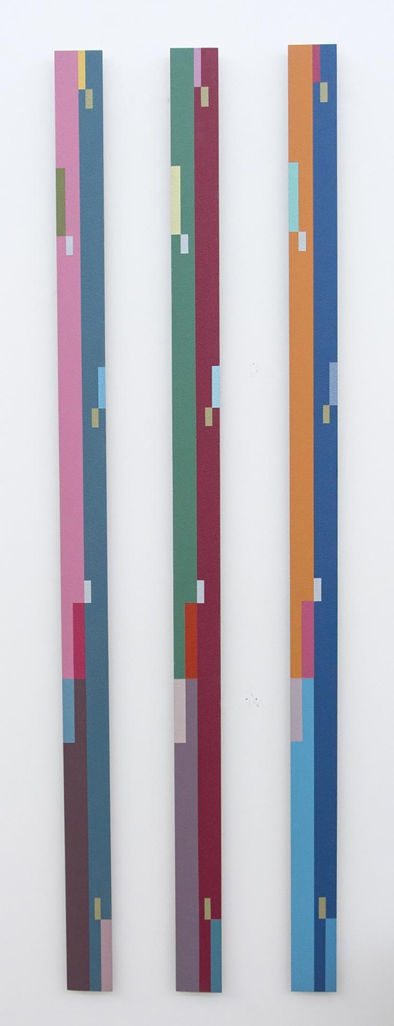 TTH Trio (1A 1B 1C) - tall, narrow, playful abstract shapes, acrylic on aluminum