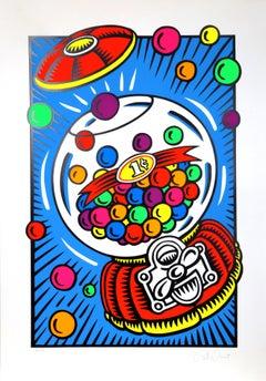 Bubblegum Machine, Pop Art Silkscreen by Burton Morris