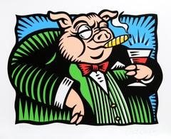 """The Pig"", Pop Art Serigraph by Burton Morris"