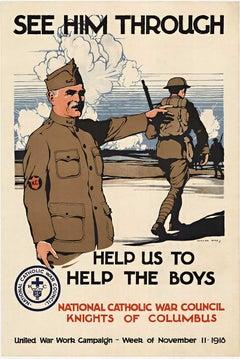 See Him Through, Help US To Help The Boys original World War 1 poster