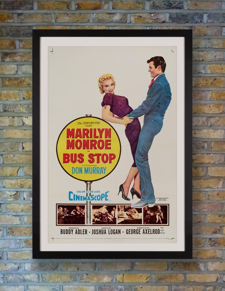 A Classic US one sheet poster for the 1956 romantic comedy 'Bus Stop' starring Marilyn Monroe as saloon singer Cherie, kidnapped by a love-struck cowboy. Although Marilyn's performance was broadly praised, it was co-star Don Murray who received an