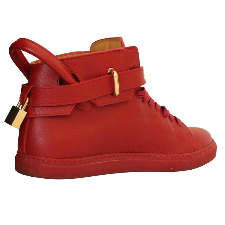 Wonderful and super quality Buscemi mens high sneakers Leather  Red color Laced Golden keys and locker Worldwide express shipping included in the price !