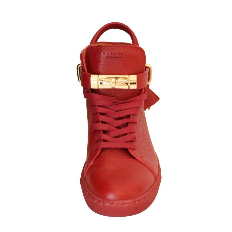 Buscemi Italy Mens Red Leather Sneakers 44 In Excellent Condition In Gazzaniga (BG), IT