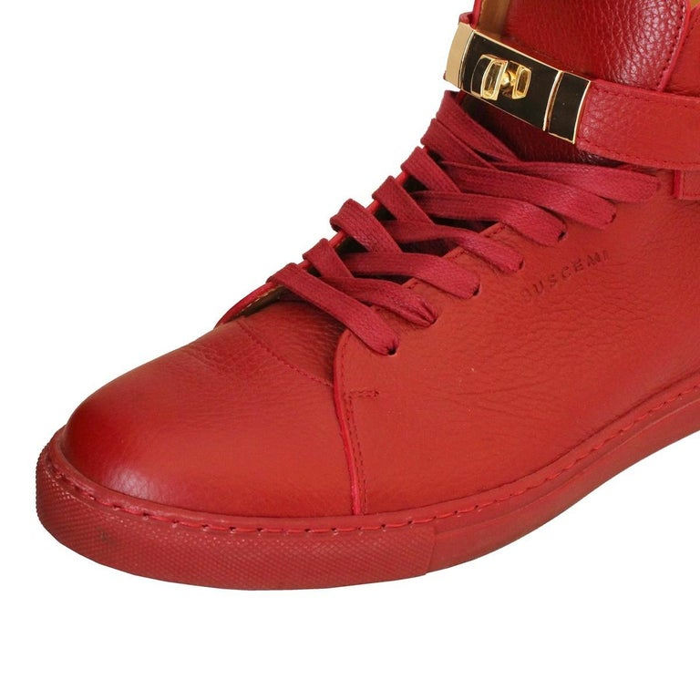 Men's Buscemi Italy Mens Red Leather Sneakers 44