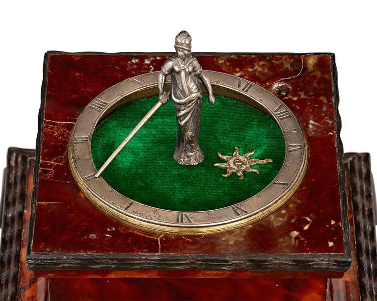 "Renaissance Buschman ""Minerva"" German Horizontal Table Clock For Sale"