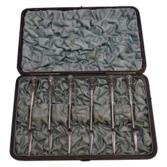 Bust by Gorham Sterling Silver Nut Pick Set of 6 in Fitted Box