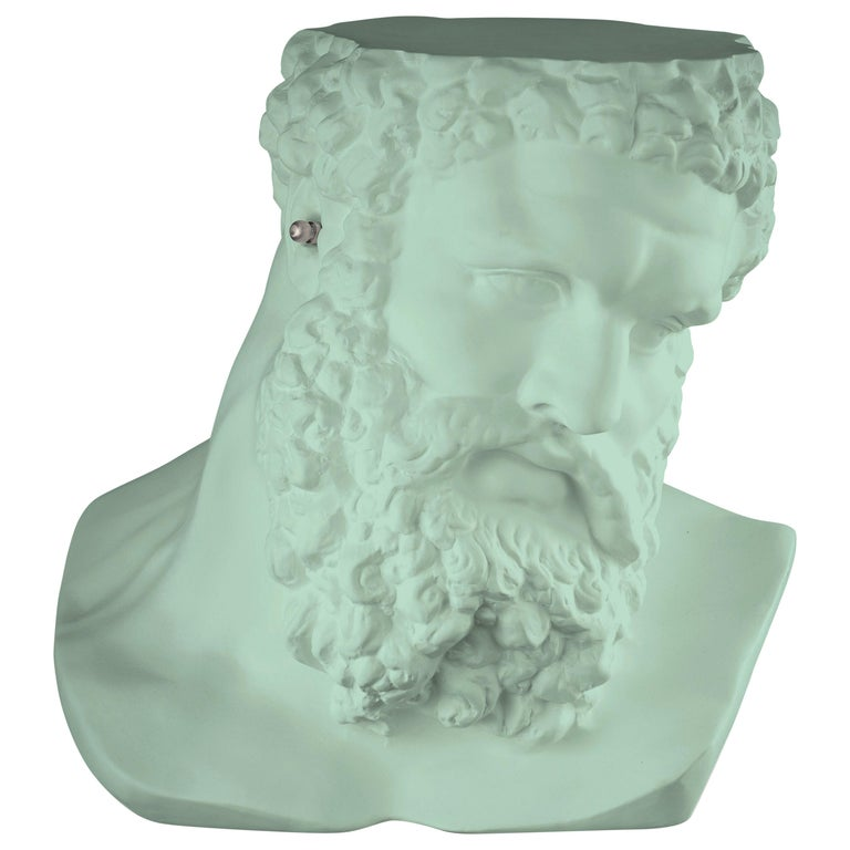 """Bust Ercole """"Don't Hear"""", Small Table/Sculpture, Ceramic, Neo Mint Color, Italy For Sale"""
