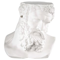 "Bust Ercole ""Don't Hear"", Small Table, Sculpture, in Matte White Ceramic, Italy"