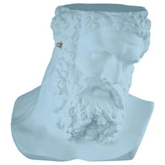 "Bust Ercole""Don't Hear"", Small Table/Sculpture, Ceramic, Purist Blue Color Italy"