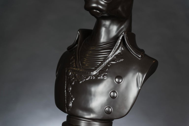 Bust Marengo, Black, in Ceramic, Italy In New Condition For Sale In Quinto di Treviso, Treviso