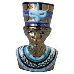 Bust Nefertiti Sculpture Ceramic Gold 24 Kt, Italy, 1970s, Egypt