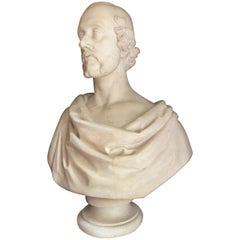Bust of a Statesman in White Marble, Dated 1852, Signed Christopher Moore