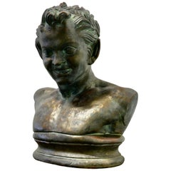 Bust of a Young Satyr in a Bronze Patina