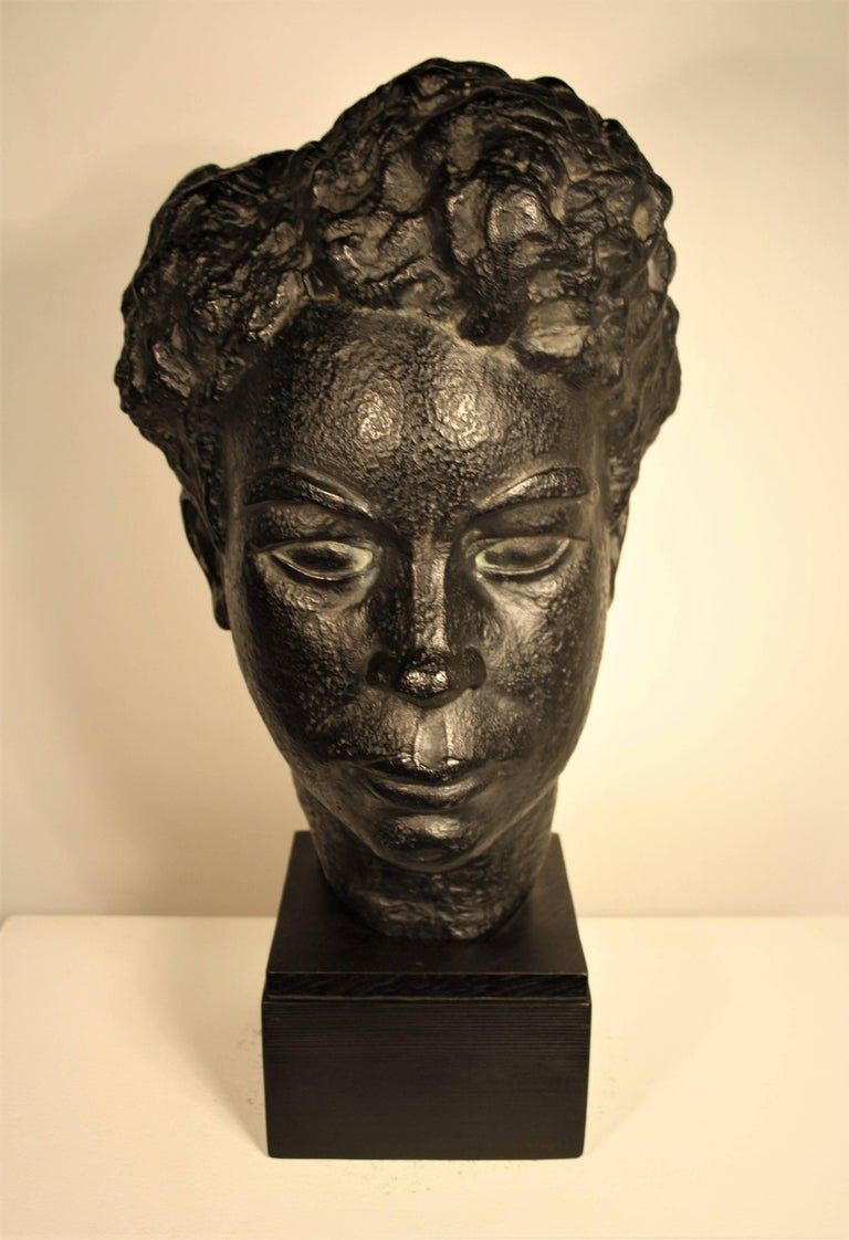 Mid-Century Modern Bust of an African Woman by Marguerite Acarin For Sale