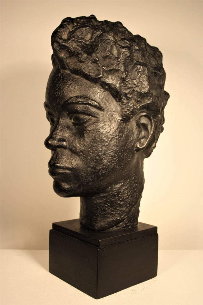 Belgian Bust of an African Woman by Marguerite Acarin For Sale