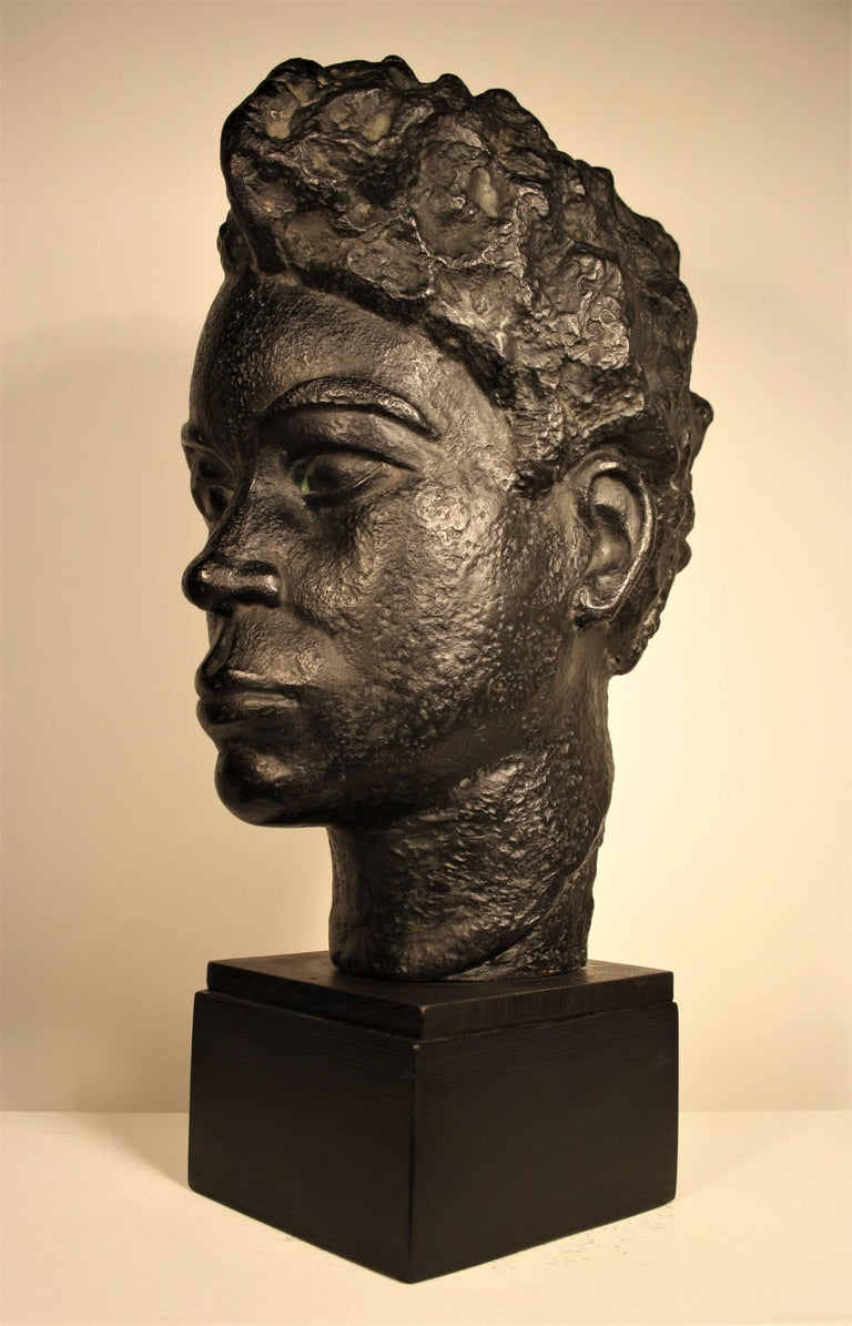 Patinated Bust of an African Woman by Marguerite Acarin For Sale