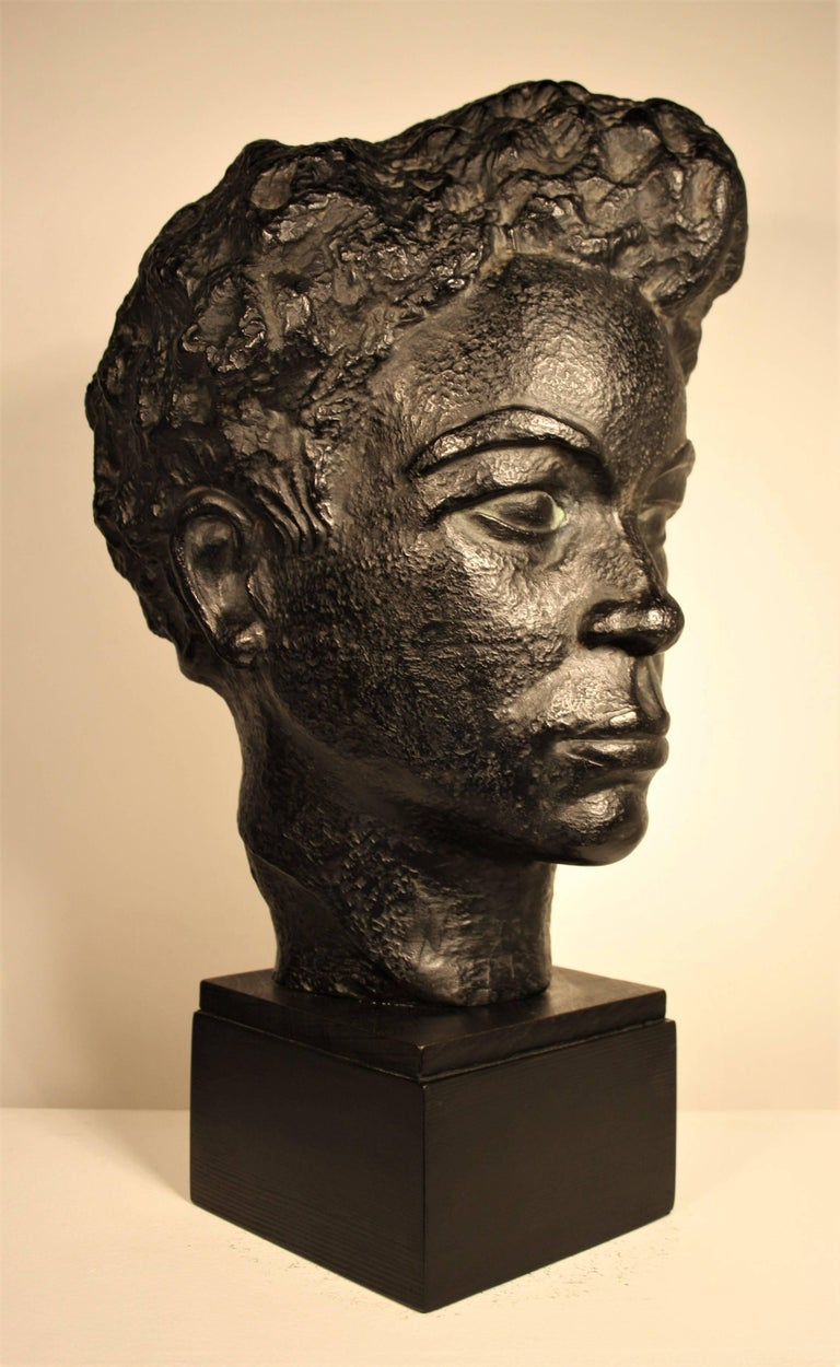 Mid-20th Century Bust of an African Woman by Marguerite Acarin For Sale
