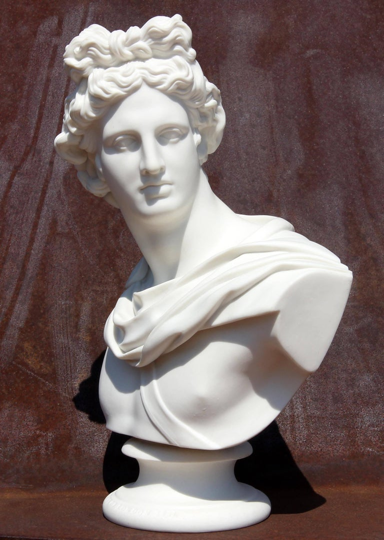 Parian sculpture of Apollo. Dated 1861. Produced by Art Union of London. Front of base is marked