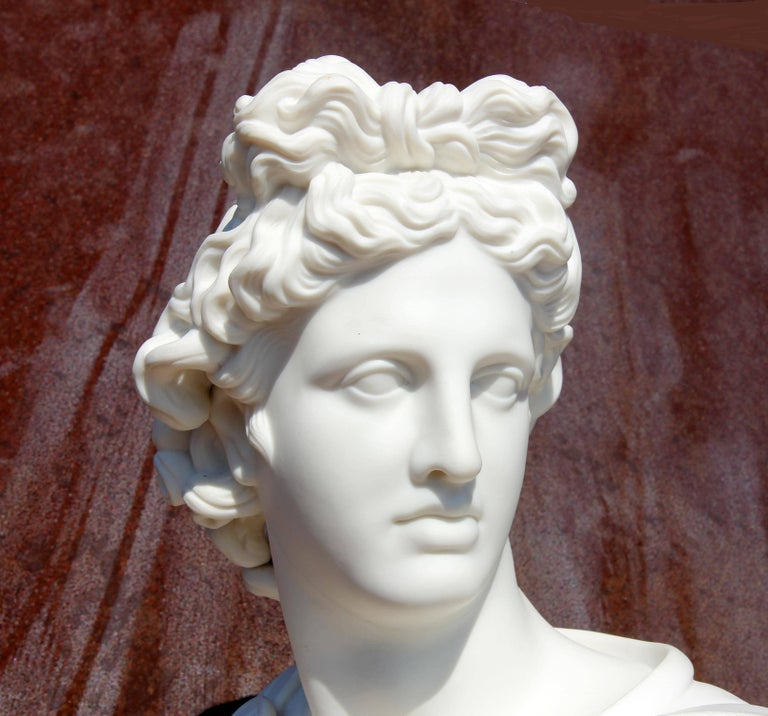 European Bust of Apollo Belvedere 19th Century Parian Sculpture For Sale