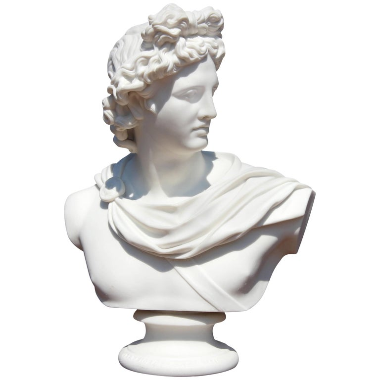 Bust of Apollo Belvedere 19th Century Parian Sculpture For Sale