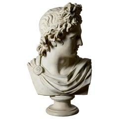 Bust of Classical Man on Scagliola Pillar, 20th Century