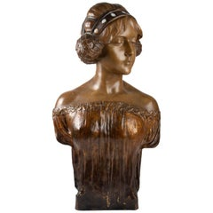 Bust of Goldscheider '1845-1897' in Polychrome Terracotta, Large Format