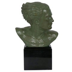 """Bust of Jean Mermoz"" French Art Deco Bronze Sculpture by Lucien Gibert"