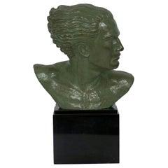 """Bust of Jean Mermoz"" French Art Deco Bronze Sculpture by Lucien Gibert"
