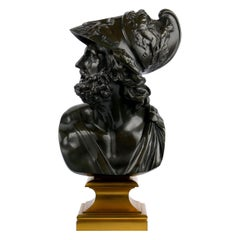 """""""Bust of Menelaus"""" French Bronze Sculpture by Georges Servant, circa 1880"""