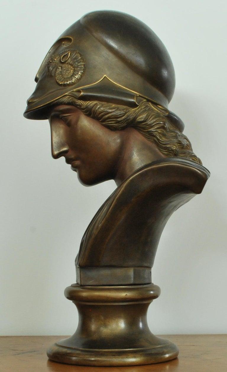 English Bust of Minerva, Black Basalt, Gilt and Bronzed, Wedgwood, 1875 For Sale
