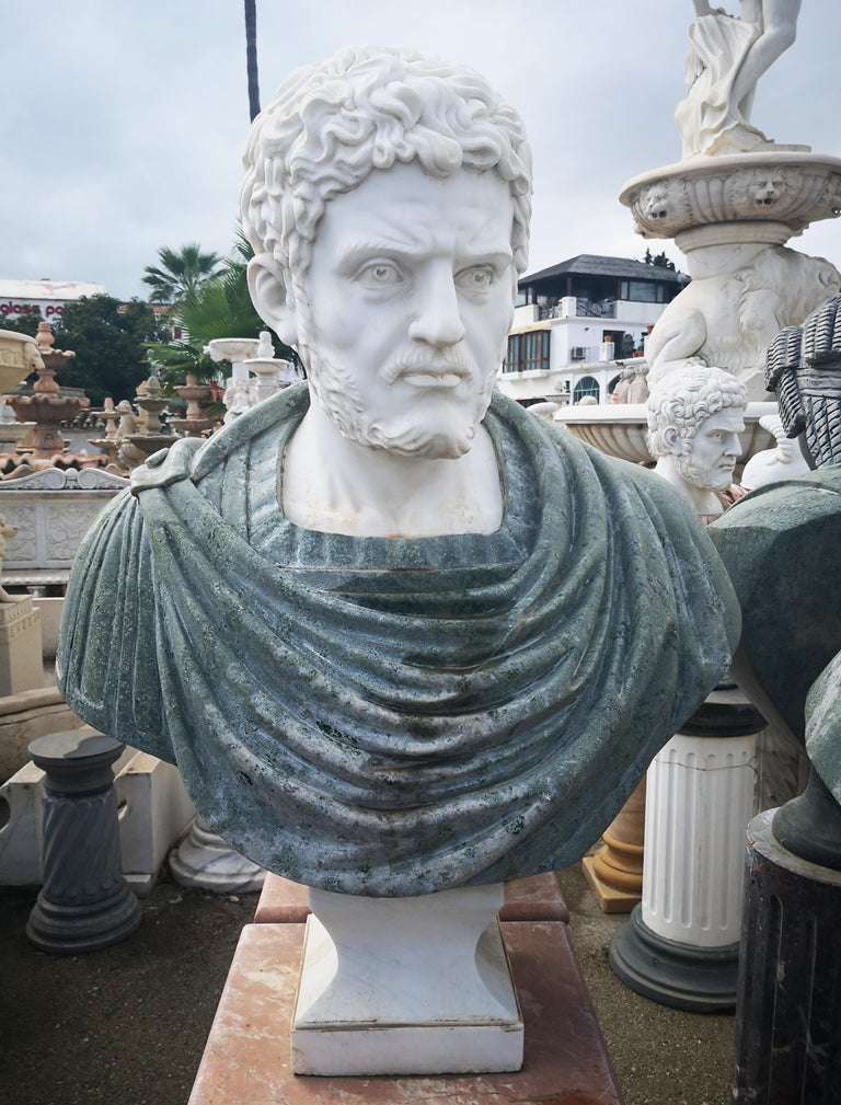 Bust of Roman emperor Hadrian in Carrara white and serpentine green marbles.