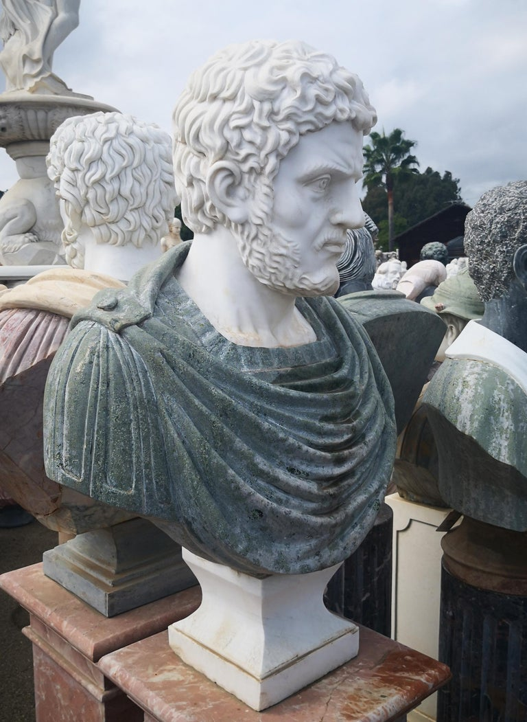 Classical Roman Bust of Roman Emperor Hadrian in Carrara White and Serpentine Green Marbles For Sale