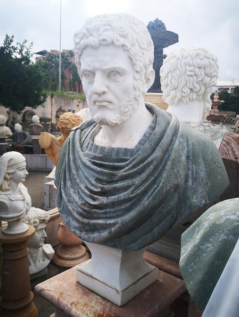 Italian Bust of Roman Emperor Hadrian in Carrara White and Serpentine Green Marbles For Sale
