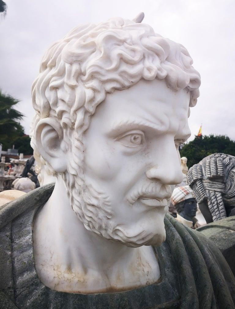 20th Century Bust of Roman Emperor Hadrian in Carrara White and Serpentine Green Marbles For Sale