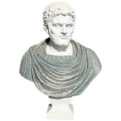 Bust of Roman Emperor Hadrian in Carrara White and Serpentine Green Marbles