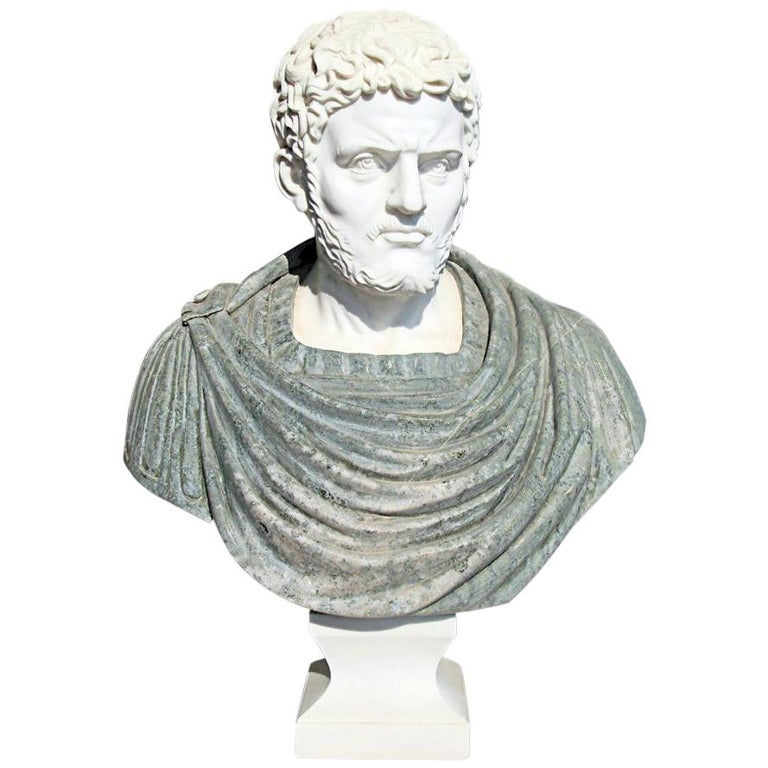 Bust of Roman Emperor Hadrian in Carrara White and Serpentine Green Marbles For Sale