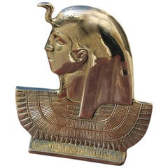 Bust Solid Brass Gold Sculpture Depicting Egyptian Emperor Italian Design, 1950s
