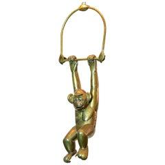 Bustamante Hanging Brass Monkey with Baseball Cap