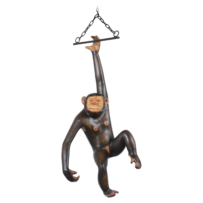 Bustamante Papier-Mâché Hanging Chimpanzee Sculpture