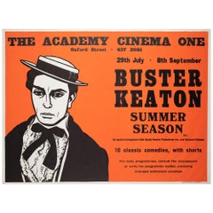 Buster Keaton Summer Season 1970s London UK Quad Film Poster, Strausfeld